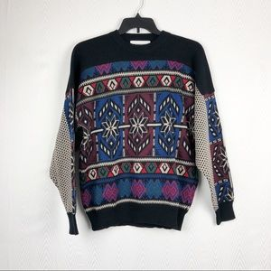 Vintage Obermeyer Wool Ski Sweater 80's Abstract